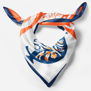 silk scarf for women blue and orange