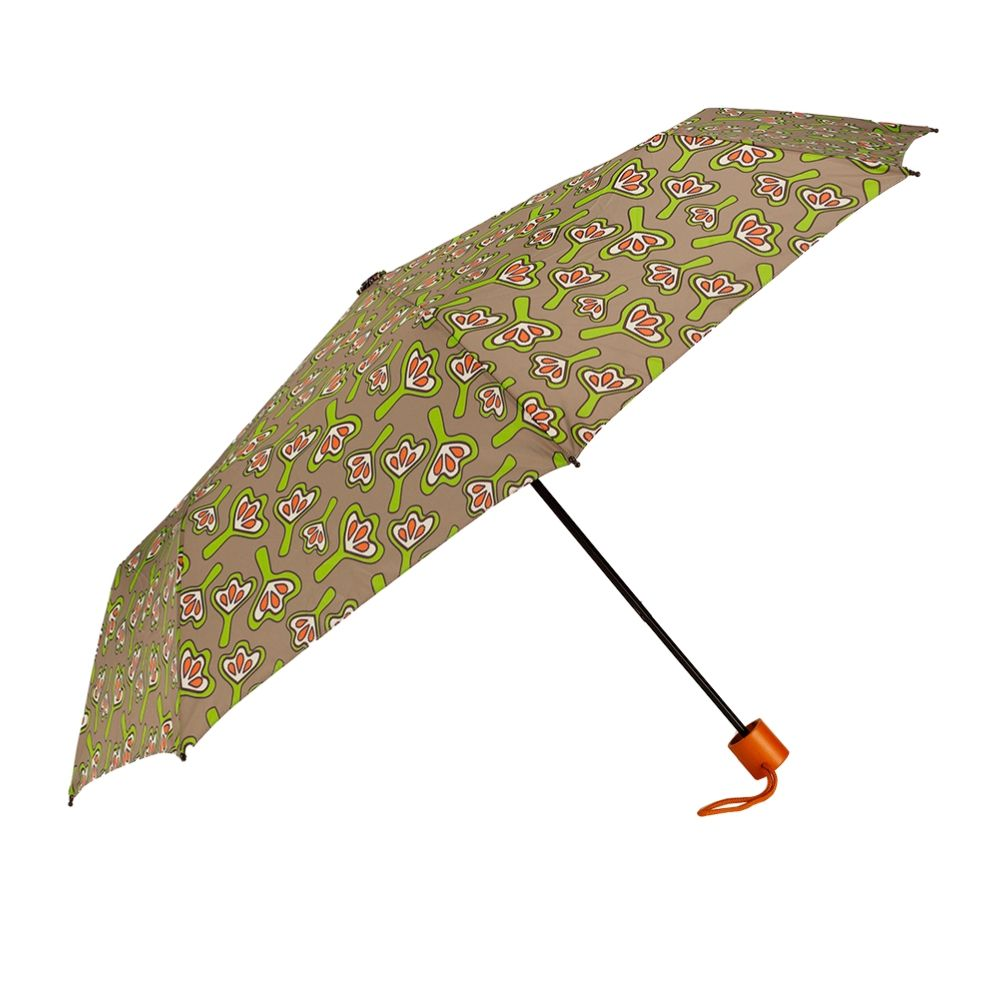 Windproof Umbrella in Tan Lilies Folding Umbrella