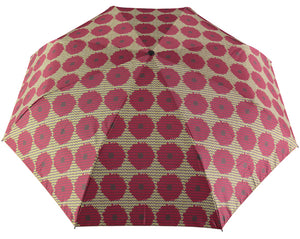 Windproof Umbrella in Aubergine Bloom Print Ladies Folding Umbrella