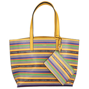 reversible tote bag with clutch yellow