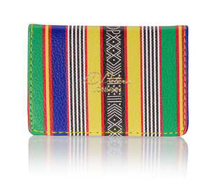 OYSTER CARD HOLDER kente mudcloth yellow