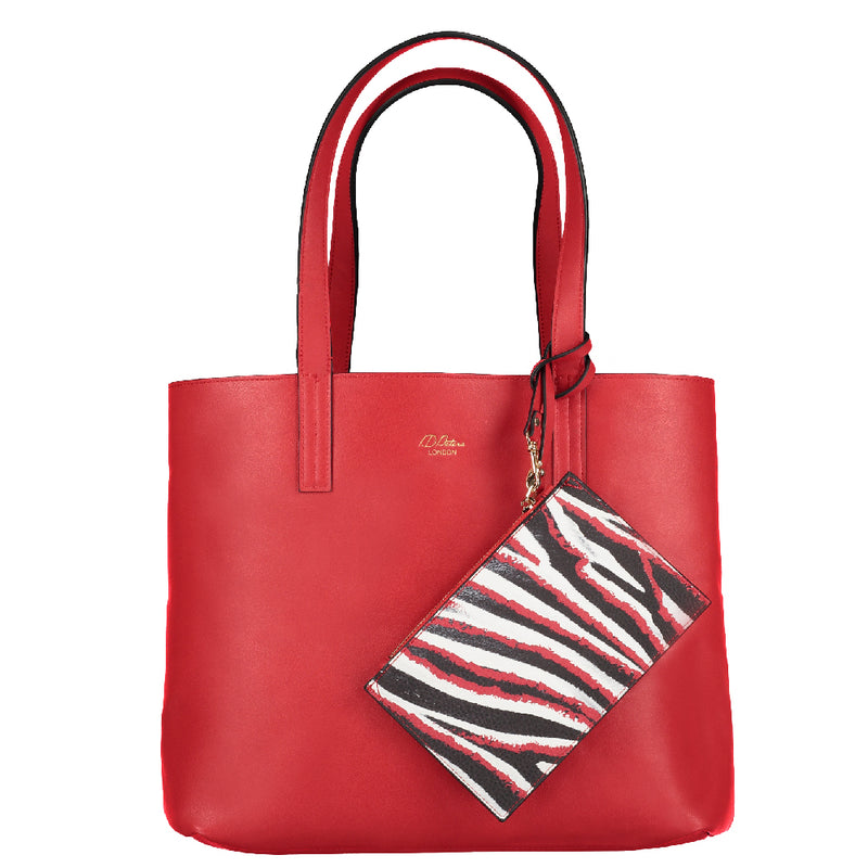 red reversible tote bag with clutch purse