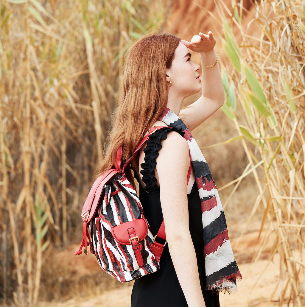 womens red backpack