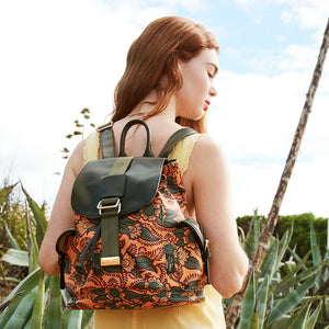 orange and green backpack for women