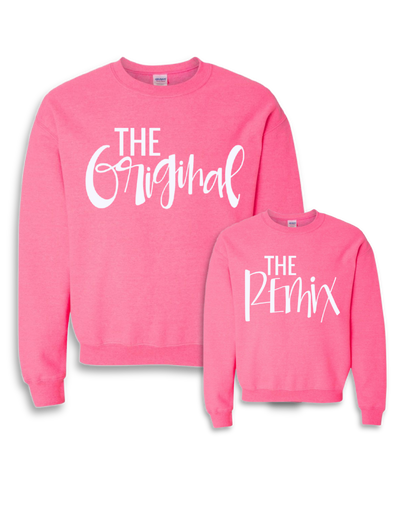 The Original, Remix and Encore® Script Sweatshirts- Highlighter Pink