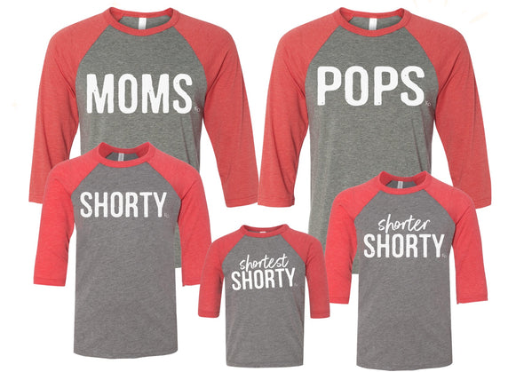 Family Matching T-Shirt Set - Moms, Pops, and Shorty Collection Holiday Raglans
