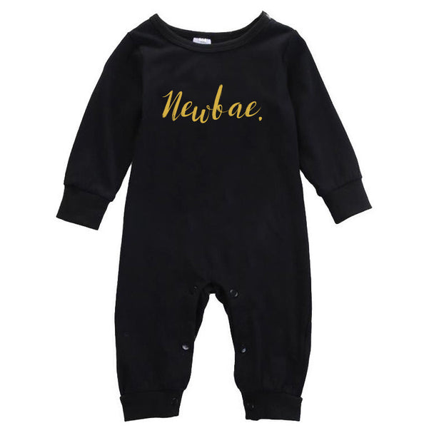 Baby- Newbae. Black Romper/Gold Ink - KaAn's Designs