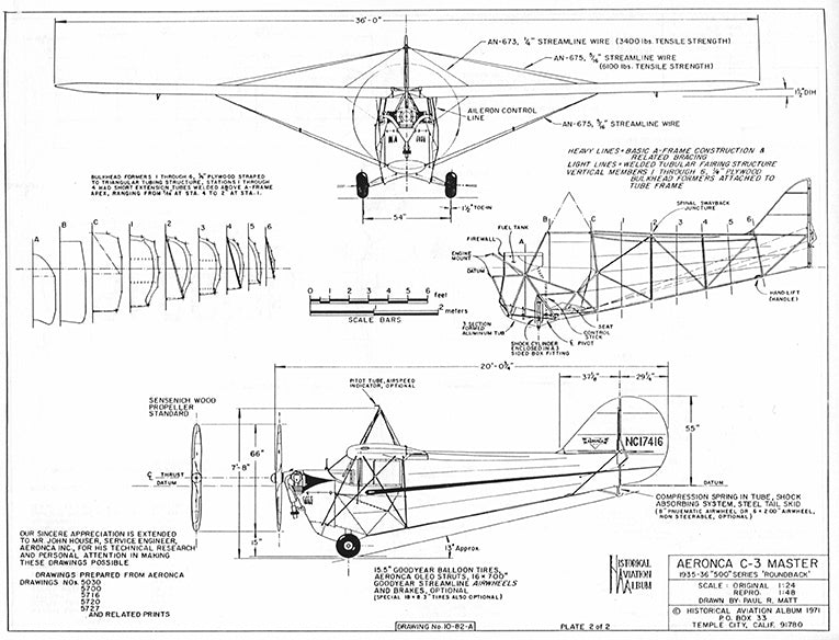 Drawing - Paul Matt - Aeronca C-3 Master
