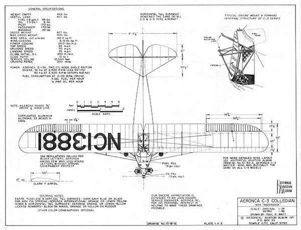 Drawing - Paul Matt - Aeronca C-3 Collegian