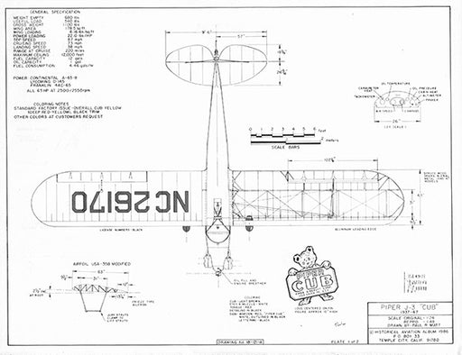Drawing - Paul Matt - Piper J3 Cub