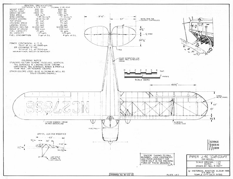 Drawing - Paul Matt - Piper J4 Cub Coupe