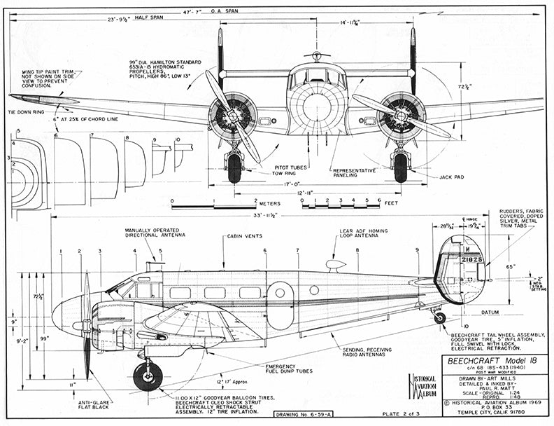 Drawing - Paul Matt - Beechcraft D-18S