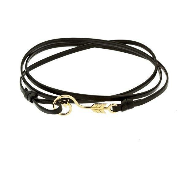 Arrow bracelet in 18k gold and leather - Tigers & Dragons