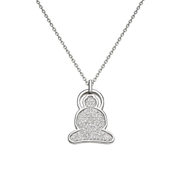 Buddha necklace in sterling silver with cubic zirconia - Tigers & Dragons