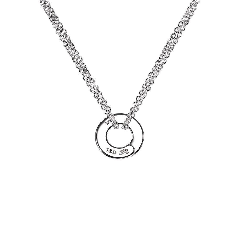 Full moon Enso double chain necklace in sterling silver - Tigers & Dragons
