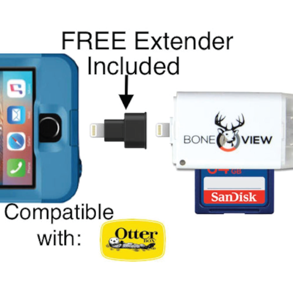 BoneView for Apple SD Card Reader includes free extender adapter for thick phone cases
