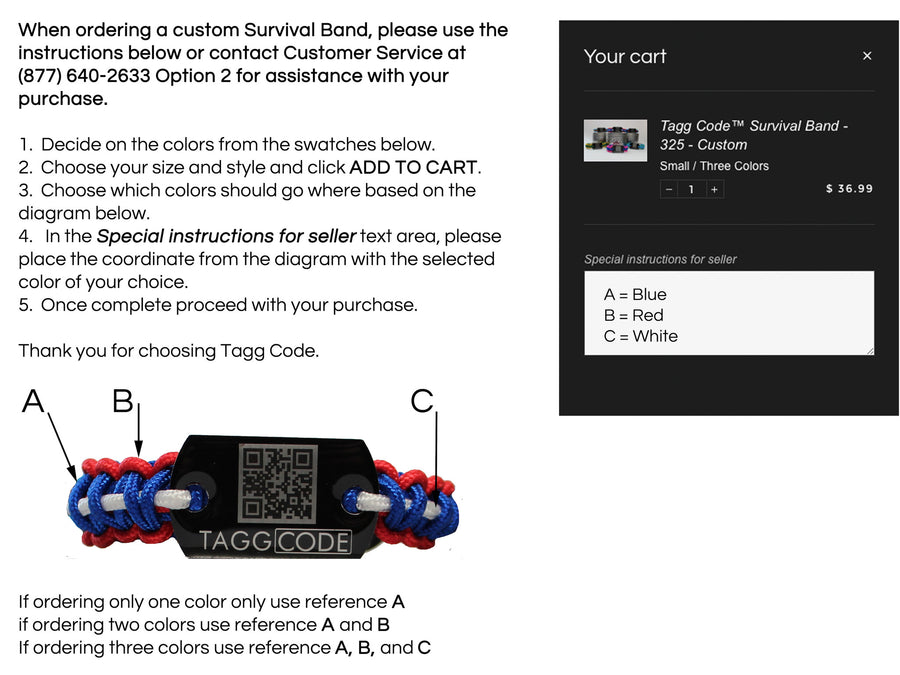 Tagg Code™ Survival Band - 550 - Custom - Tagg Code