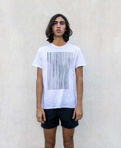 Sunno screen print stripes white T-shirt