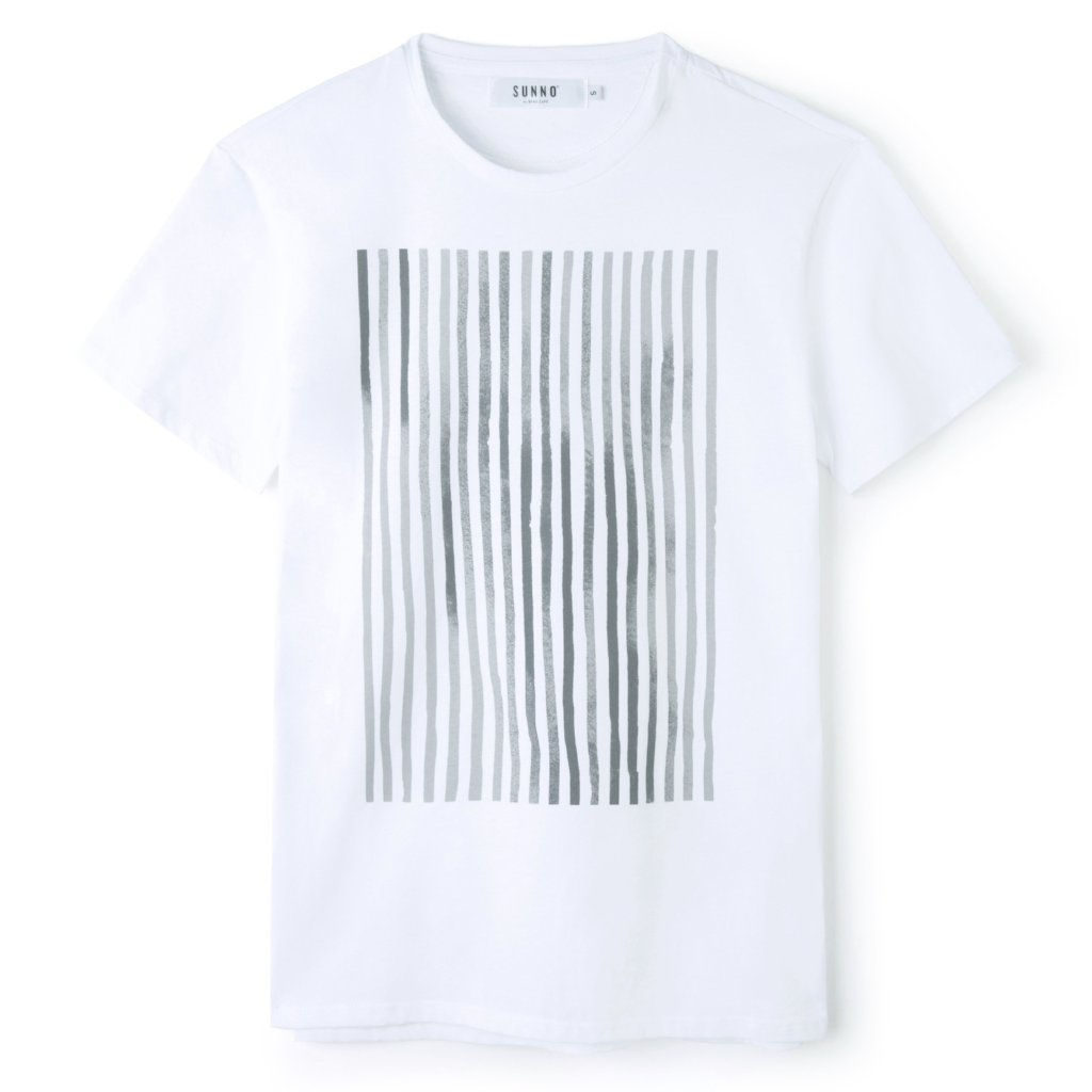 Sunno by Bene Cape printed stripes white T-shirt