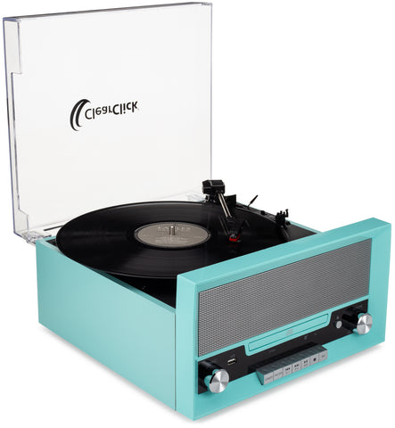 All-In-One Turntable with CD Player, FM Radio, Bluetooth, Aux-In, & USB
