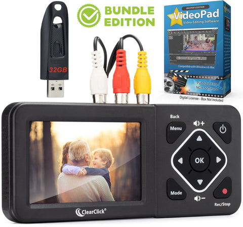Video2Digital® Converter 2.0 (Second Generation) Bundle Edition | Capture Video From VCR's, VHS Tapes, Hi8, Camcorder, DVD, & Gaming Systems - No Computer Required