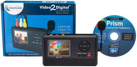 Video2Digital® Converter - Deluxe Edition | Capture Video From VCR's, VHS Tapes, Hi8, Camcorder, DVD, & Gaming Systems - No Computer Required