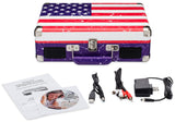 Portable Suitcase-Style Turntable | USA Flag Design | 3-Speed Record Player with Speakers, USB-Out, & Audio Recording Software