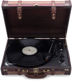 Vintage Wooden Suitcase Turntable with Bluetooth & USB (Model VT32)