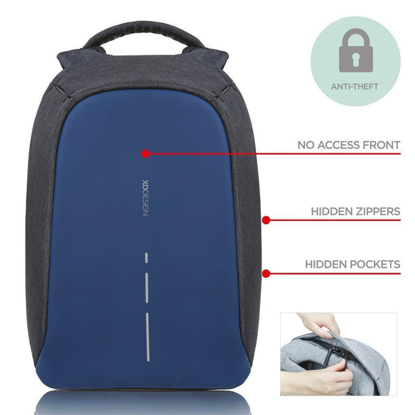 Bobby compact anti-theft backpack, diver blue (Item Code : P705.535) Backpack xd-design