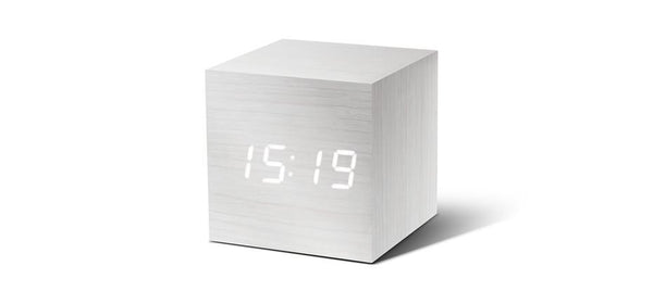 Cube Click - ساعة Digital clocks Gingko خشب أبيض / أبيض