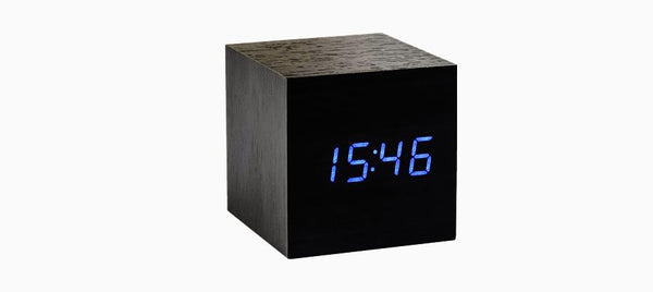 Cube Click - ساعة Digital clocks Gingko خشب أسود/أزرق