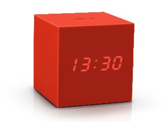 Gravity Cube Click ساعة طاولة Digital clocks Gingko أحمر