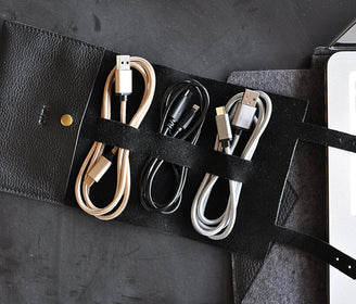 حقيبة حفظ كابل الشاحن Leather Cord Wrap Electronic Gadgets Kiko Leather