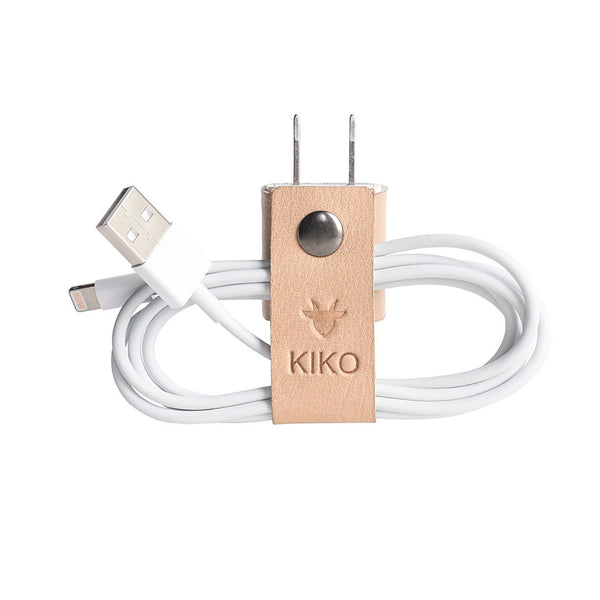 حزام حفظ كابل الشاحن The Cord-ganizer Electronic Gadgets Kiko Leather بني فاتح