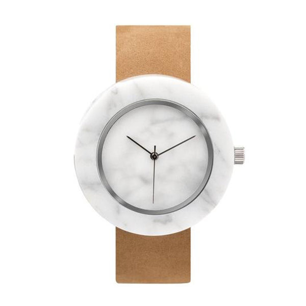 ساعة اليد الرخامية WHITE MARBLE CIRCLE MASON WATCH - جملي Watches ANALOG WATCHES