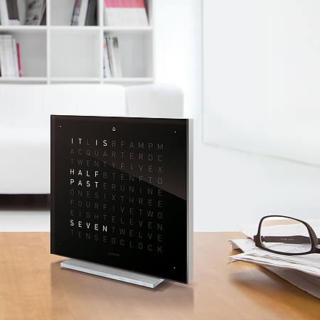 ساعة مكتب QLOCKTWO® TOUCH | ACRYL - Silver Body / Black Ice Tea Table Clocks Qlocktwo
