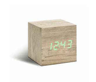 ساعة منبه CUBE ASH CLICK CLOCK/GREEN LED Digital Clocks Gingko