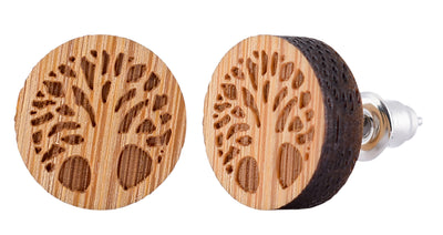 GREAT OUTDOORS WOODEN STUD EARRING SET: 3 Unique Designs with a Beautiful Wood Box - Miss Grandeur