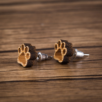 Paw Wood Stud Earrings - Miss Grandeur