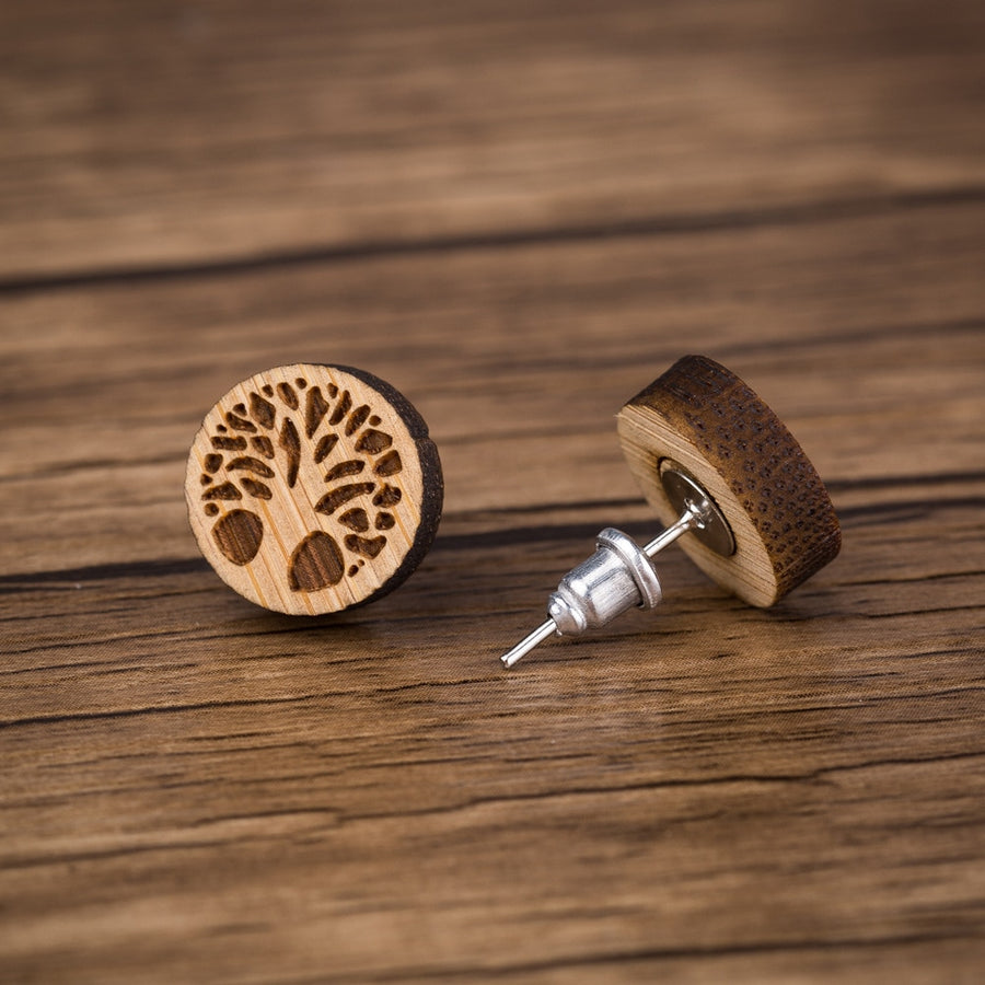 Tree of Life Wood Stud Earrings - Miss Grandeur