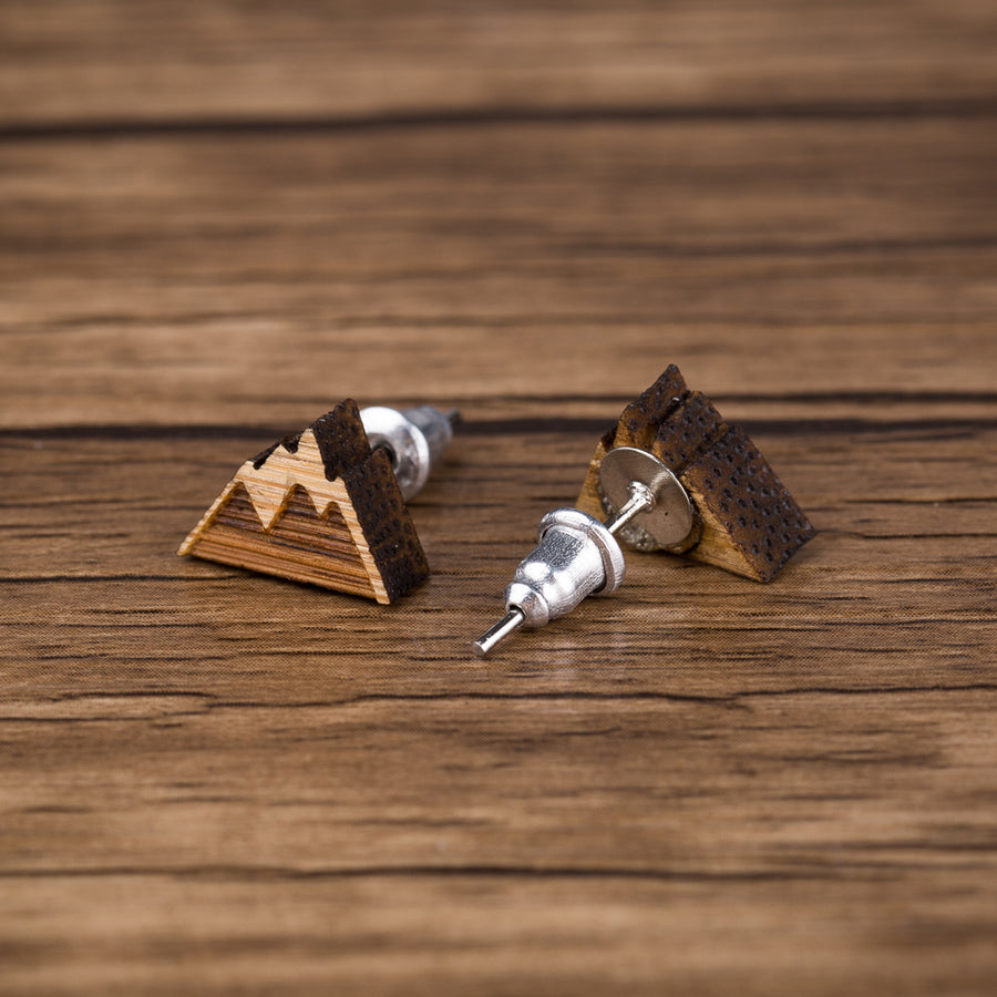 Mountain Range Wood Stud Earrings - Miss Grandeur