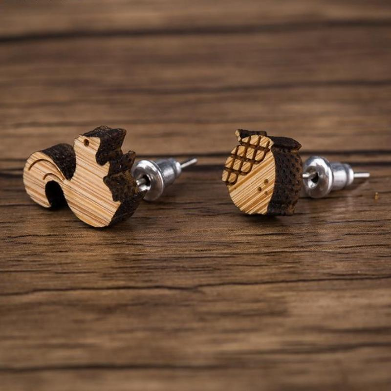 Squirrel and Nut Wood Stud Earrings