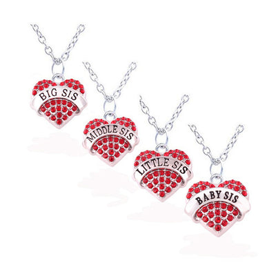 Set of 4 Sisters Heart Necklace - Miss Grandeur