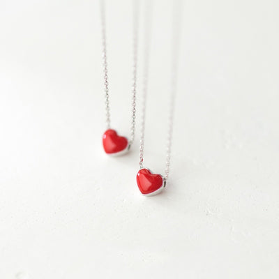 Tiny Red Glaze Heart Pendant Necklace (Sterling Silver) - Miss Grandeur