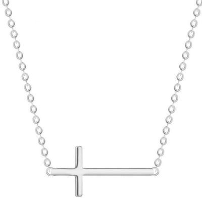 Horizon Cross Necklace (Sterling Silver) - Miss Grandeur
