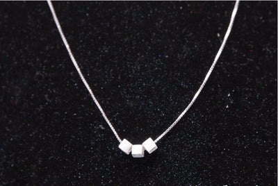 Brushed Silver Block Pendant Necklace (Sterling Silver) - Miss Grandeur
