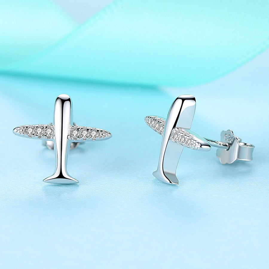 Premium Dazzling Airplane Stud Earrings - Miss Grandeur