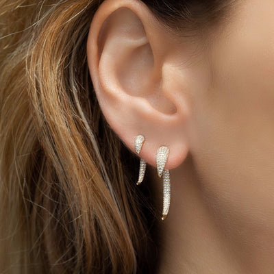 Pave Horn Earrings