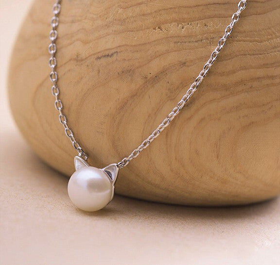 Dainty Cat Pearl Necklace (Sterling Silver)