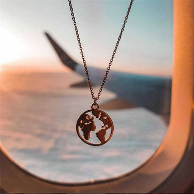 Origami World Map Necklace (Sterling Silver) - Miss Grandeur